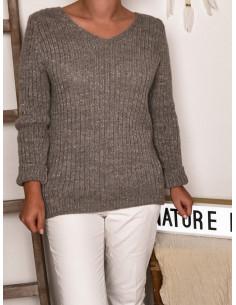 Pull avec laine et mohair brillant détail au dos - Taupe
