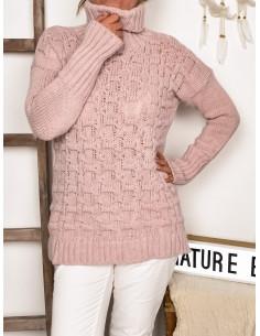 Pull femme col roulé avec laine et alpaga - Rose pale