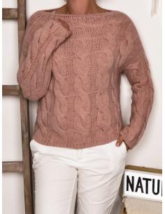 Pull torsadé chaud avec laine et mohair et viscose rose pale poudré pull femme court pour superposition