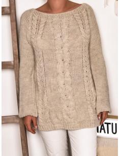 Pull long femme avec laine et mohair - Beige