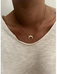 Collier plaqué or CELESTE femme chaine et PENDENTIF DEMI LUNE MARTELÉE bijoux plaqué or tendance femme