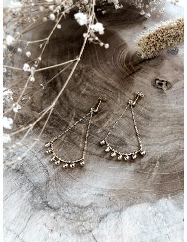 Boulces d'oreille SAVOYARDE pendante plaqué or BOMBAY femme chaine et pampilles boules billes perles bijoux plaqué or tendance
