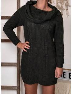 Robe pull laine et mohair femme kaki col roulé large maille hiver torsade robe chaude courte