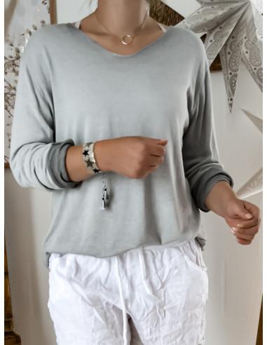 Pull fin en maille de coton GRIS pour femme avec liséré fil pailleté argenté col V style casual made in italy