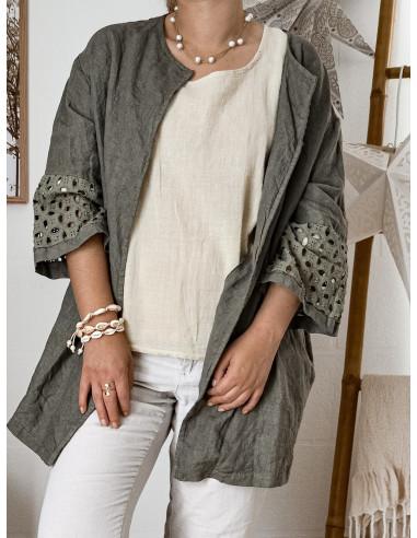 Veste en lin longue pour femme kaki vetement made in italy Boheme chic avce broderie anglaise et poches