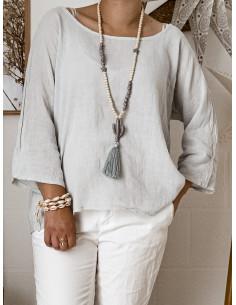 Blouse femme en lin et coton manches 3/4 - Gris