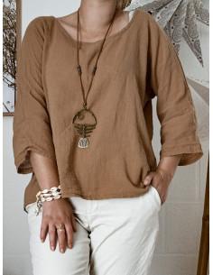 Blouse femme en lin et coton manches 3/4 - Marron