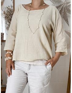 Blouse femme en lin et coton manches 3/4 - Beige