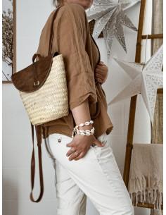 Panier sac à dos en paille et cuir