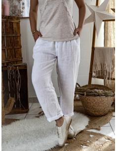 Pantalon femme 100 % pur lin fluide - Blanc