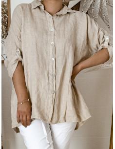 Chemise femme pur lin goutte d'eau au dos - Beige