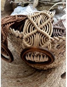 Ceinture macramé boucle RONDE en bois - BEIGE
