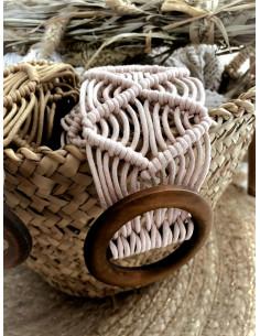 Ceinture macramé boucle RONDE en bois - ECRU