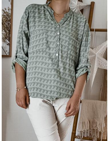 Blouse 100 % viscose KAKI fluide pour femme avec motif petites feuilles col mao tunique chemise made in italy