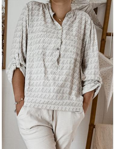 Blouse 100 % viscose BEIGE fluide pour femme avec motif petites feuilles col mao tunique chemise made in italy