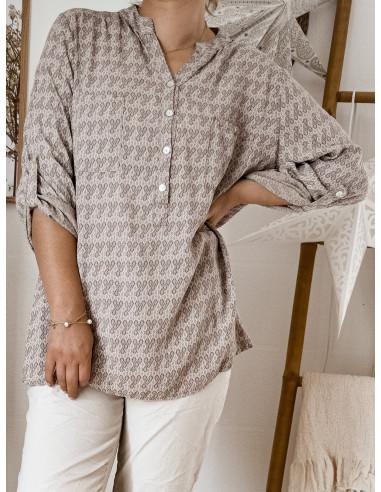 Blouse 100 % viscose TAUPE fluide pour femme avec motif petites feuilles col mao tunique chemise made in italy