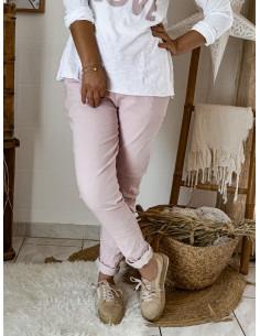 Pantalon femme casual coupe droite - Rose poudré