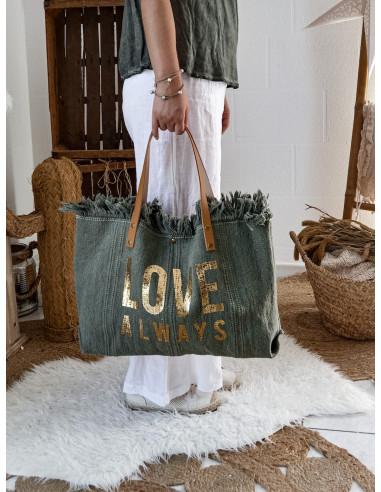 Sac en toile cabas en coton motif doré inscription LOVE ALWAYS KAKI