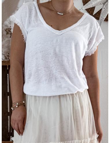 Tee shirt femme blanc en maille de lin COL V dos decolleté v bohème chic MADE IN ITALY