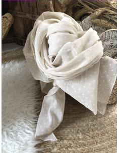 Foulard fluide coton et soie pétites étoiles - Beige