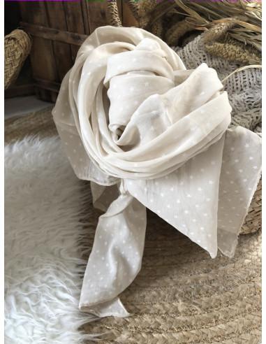 Foulard coton et soie made in italy petites étoiles BEIGE