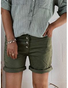 Short femme casual en coton - Kaki