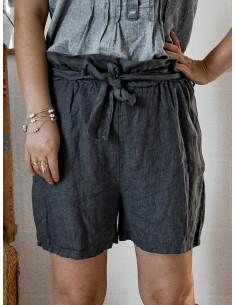 Short long femme pur lin à nouer - Gris anthracite