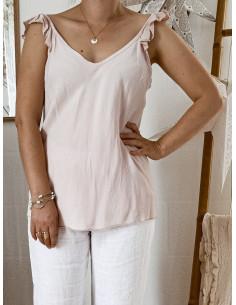 Top femme 100 % tencel bretelles froufrous - Rose pale