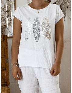 T shirt BLANC plumes nacrées en coton made in italy