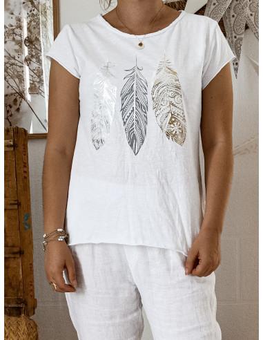 T shirt BLANC plumes nacrées en coton made in italy