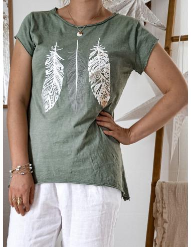T shirt KAKI plumes nacrées en coton made in italy