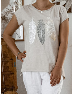 T shirt BEIGE plumes nacrées en coton made in italy