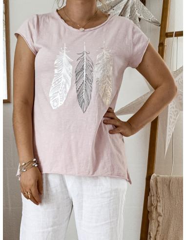 T shirt ROSE PALE POUDRÉ plumes nacrées en coton made in italy