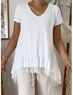 Tee shirt volants froufrou dentelle et tulle pour femme en coton t shirt long blanc made in italy