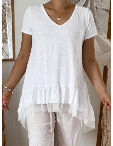 Tee shirt volants froufrou dentelle et tulle pour femme en coton t shirt long blanc made in italy