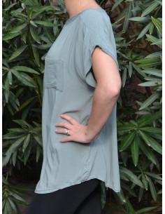 T-shirt fluide avec poche - Vert kaki