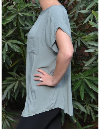 T-shirt fluide avec poche poitrine pour femme - Vert kaki