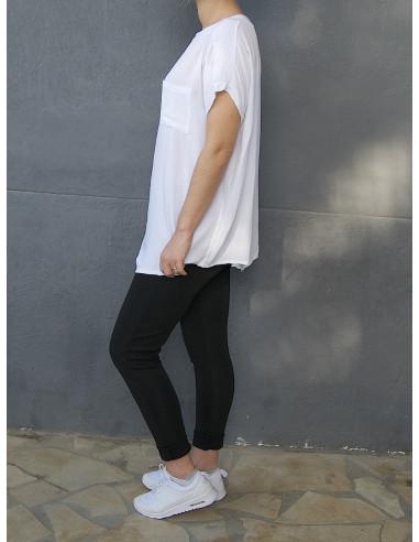 T-shirt fluide avec poche poitrine pour femme - Blanc