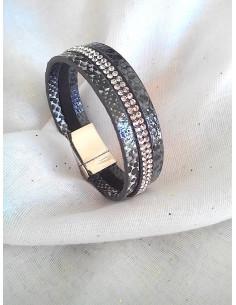 Manchette aimantée nacrée serpent - Gris anthracite bracelet nacré fermeture aimant