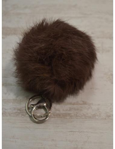 Pompon lapin porte clé, bijou de sac - Marron