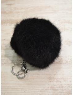 Pompon lapin porte clé, bijou de sac - Noir