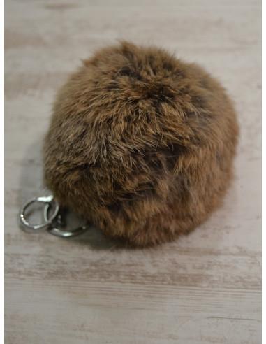 Pompon lapin porte clé, bijou de sac - Panaché de marron
