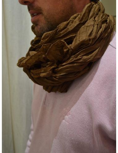 Chèche uni marron homme ou femme effet froissé - Foulard fluide, longue écharpe
