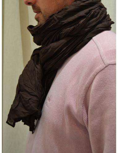 Chèche uni marron chocolat homme ou femme effet froissé - Foulard fluide, longue écharpe