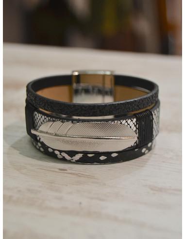 Manchette aimantée nacrée avec plume argentée - Bracelet magnétique cuir Noir et gris