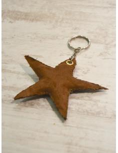 "Porte clé étoile ""STAR"" - Suédine marron - Fabrication artisanale"