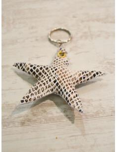 "Porte clé étoile ""STAR"" - Python blanc"