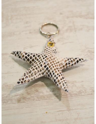 """Porte clé étoile """"STAR"""" - Python blanc - Création artisanale"""