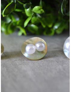 Boucle d'oreille perle blanche fantaisie - Moyenne