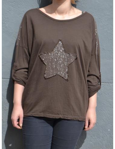 T-shirt coton femme manches longues motif etoile sequin marron chocolat foncé